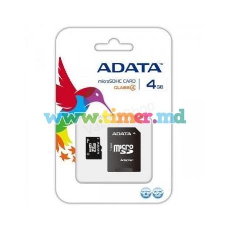 Card de Memorie ADATA microSDHC 4GB Class4 cu Adaptor inclus