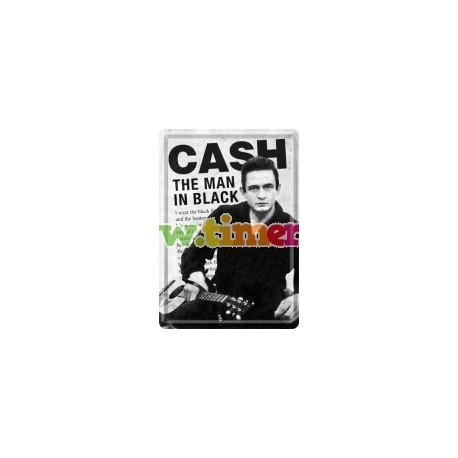 "Carte postala metalica ""Johnny Cash the man in black"""