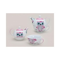 Set pentru ceai, cu bufnita