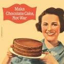 Suport pahar cu mesaj - Make chocolate cake, not war